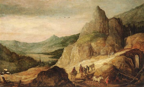 gebirgslandschaft mit reitern by joos de momper the younger and jan brueghel the elder