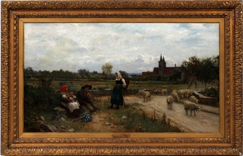 peasants resting by a road by sir ernest albert waterlow