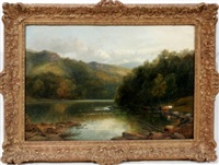 a river scene with cattle on the shore by james burrell smith