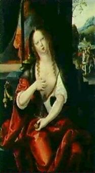 lukretia, sich den dolch in die brust stossend by master of saint sang
