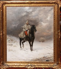 french dragoon in the snow by james alexander walker