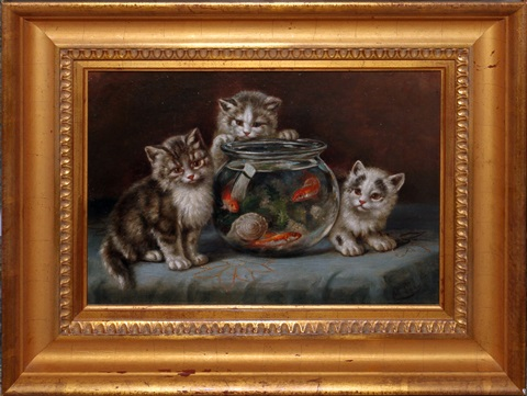 kittens by a goldfish bowl by marie laux
