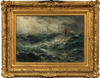 rough seas with rocks, buoy & gul by robert hopkin