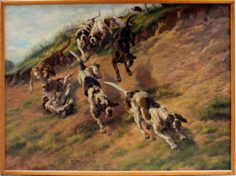 eight dogs on the hunt by edmund henry osthaus