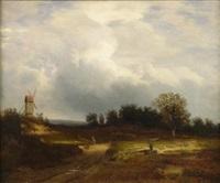 heidelandschaft mit schafherde und windmühle im hintergrund by eduard wilhelm pose