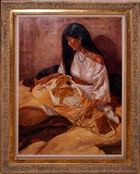 indian girl with cradle board by mike desatnick