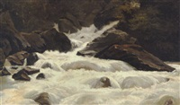 natursceneri med brusende vandfald over klipper by léon-auguste mellé