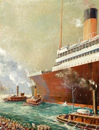 good-by, r.m.s. olympic departing new york by frederick j. hoertz