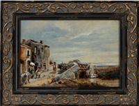 village scene by oswald achenbach