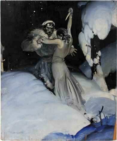 female with knife struggling with man in snowscape by john ford clymer