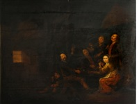 a tavern interior with figures playing cards by sebastiaen (bastiaen) heemskerck