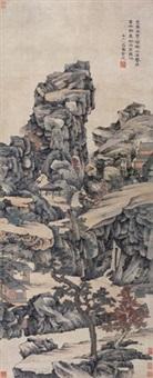叠嶂茂树图 立轴 纸本 by xiao yuncong