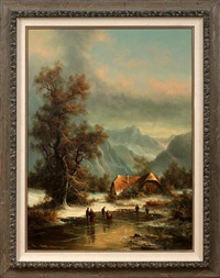 winter mountain landscape by ludwig muninger