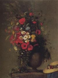 stilleben mit sommerstrauss in steinvase by jules louis badel