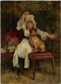 girl and pug dog by edward killingworth johnson
