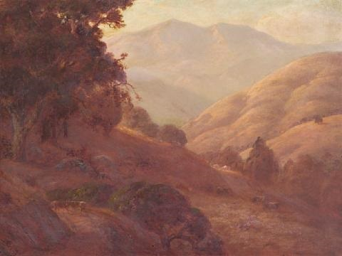 cattle grazing on golden hillsides by jules r mersfelder