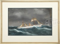 portrait of the steam yacht columbia by antonio de simone
