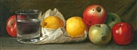 still life of apples, pears, and a glass of water by peter baumgras