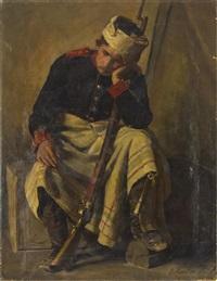portrait eines sitzenden, am kopf verwundeten soldaten aus dem -er krieg by ernst henseler