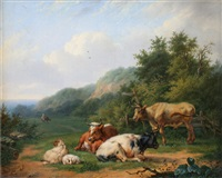 cattle and sheep resting in a field by h. heszler