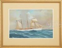 portrait of the steam yacht lady torfrida by antonio de simone