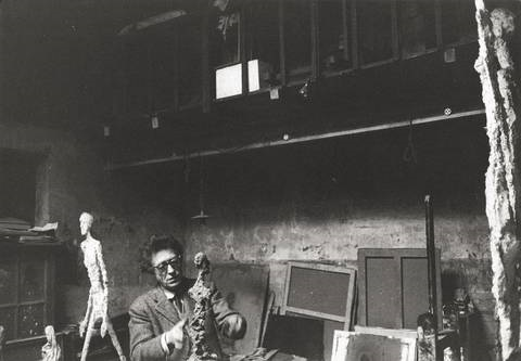 alberto giacometti in his studio in rue hippolyte maindron paris by rené burri