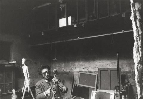alberto giacometti in his studio in rue hippolyte maindron paris by rené burri