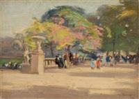 parkanlage mit blühenden bäumen und figurenstaffage by augustus william enness