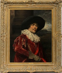 portrait of a cavalier in a red coat by alex de andreis