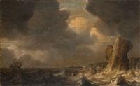 stürmische see mit schiffbruch eines dreimasters an einem steilfelsen by pieter mulier the elder