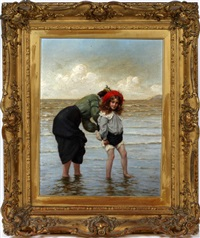 child and mother at beachside by frank percy wild