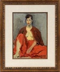 girl in red skirt by raphael soyer