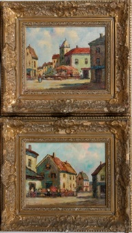 flower market scenes (pair) by dennis ainsley