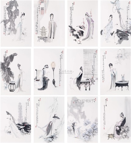 红楼十二钗 12 works by wang yisheng