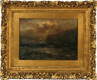 seascape with ship by robert hopkin