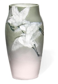 storks in flight vase by albert r. valentien