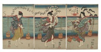 mutsu no kuni chidori no tamagawa (plover jewel river in mutsu province), depicting three women collecting brine for salt (oban tate-e) (triptych) by utagawa kuniyoshi