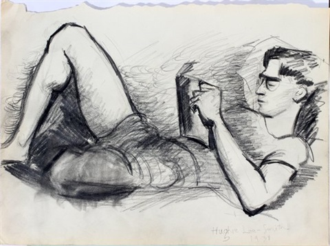 reclinin male reading by hughie lee smith