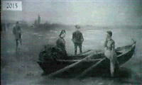figures on a shore by w. voltana