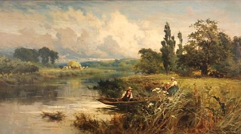 a river landscape with figures in a boat by john horace hooper