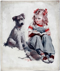 young girl & dog by lawrence nelson wilbur