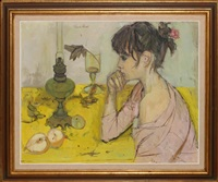 girl at table by françoise adnet