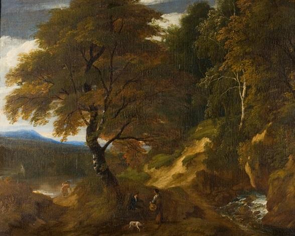 baumreiche landschaft mit tier und figurenstaffage by jacques d arthois