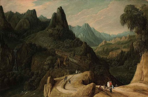 a mountainous landscape with travellers on a track by tobias verhaecht