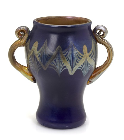 two handled tel el amarna vase by louis comfort tiffany