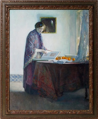woman standing at table by myron barlow