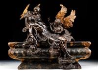der leichnam christi von zwei engeln über dem sarkophag zur auferstehung erweckt by massimiliano (benzi) soldani