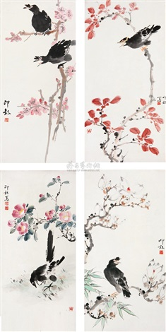 flower and bird 4 works by liao lang