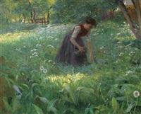 im sommerlichen laubwald. blumen pflückendes mädchen auf einer lichtung by julius exter