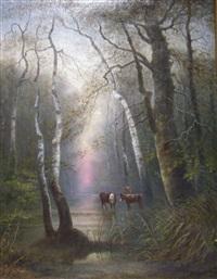 waldlandschaft mit kühen an einem bach by fritz reiss